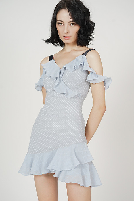 Evelin Frill Dress in Ash Blue Polka Dots - Arriving Soon