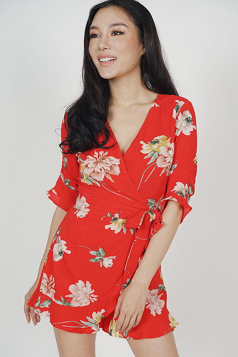 Nolana Ruffle Romper in Red Floral