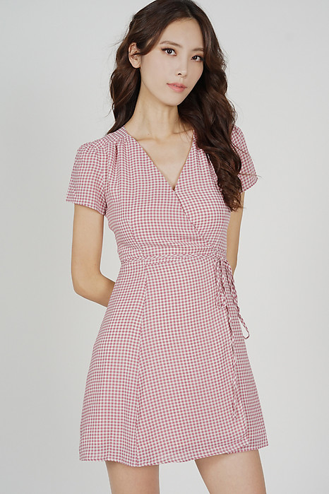 Tie Wrapped Dress in Pink Gingham - Arriving Soon