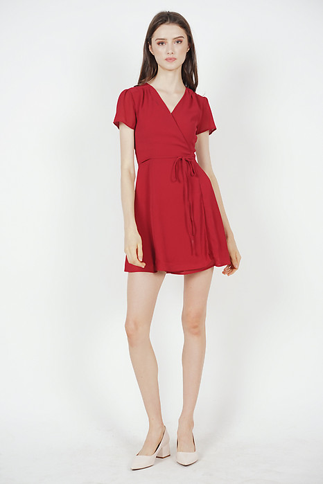 Tie Wrapped Dress in Red