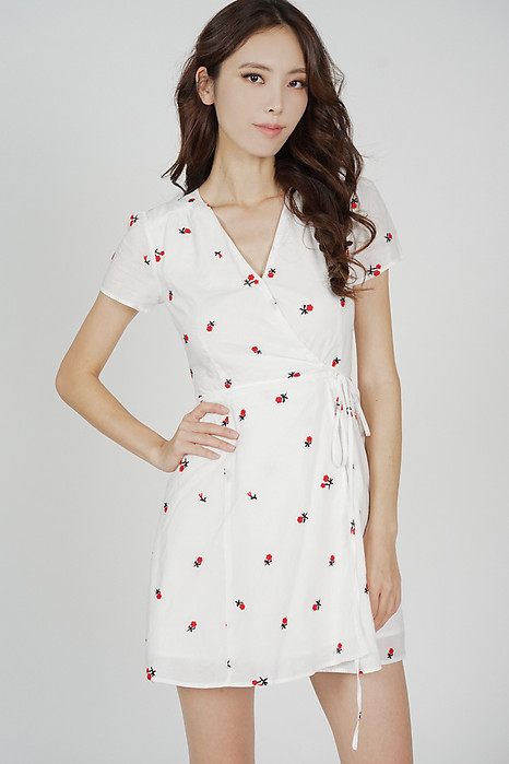 Tie Wrapped Dress in White Red Floral - Arriving Soon