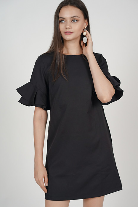 Flared-Sleeved Dress in Black