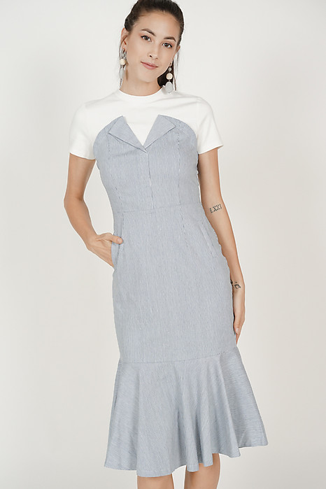 Flap-Over Flare Dress in Blue Pinstripes