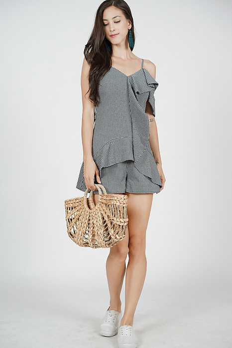 Salvia Frill Romper in Black Gingham