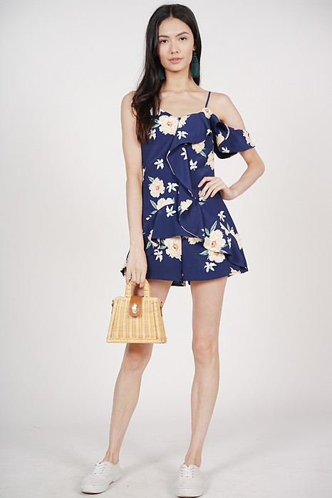 Salvia Frill Romper in Navy
