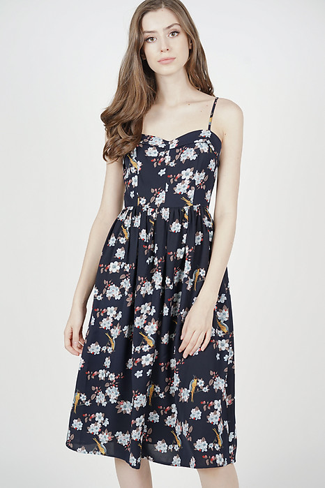 Trollius Flap Dress in Midnight Floral