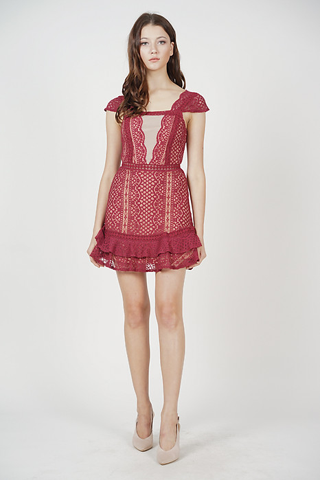 Lace Mesh Dress in Maroon