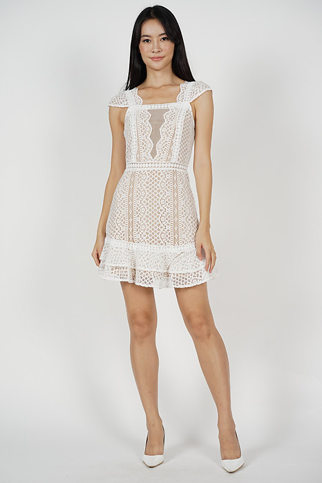 Lace Mesh Dress in White