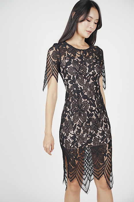 Peekaboo Lace Dress in Black