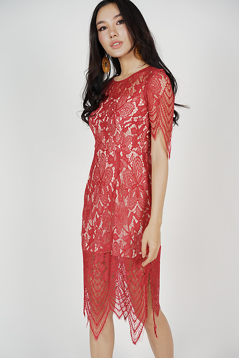 Peekaboo Lace Dress in Red