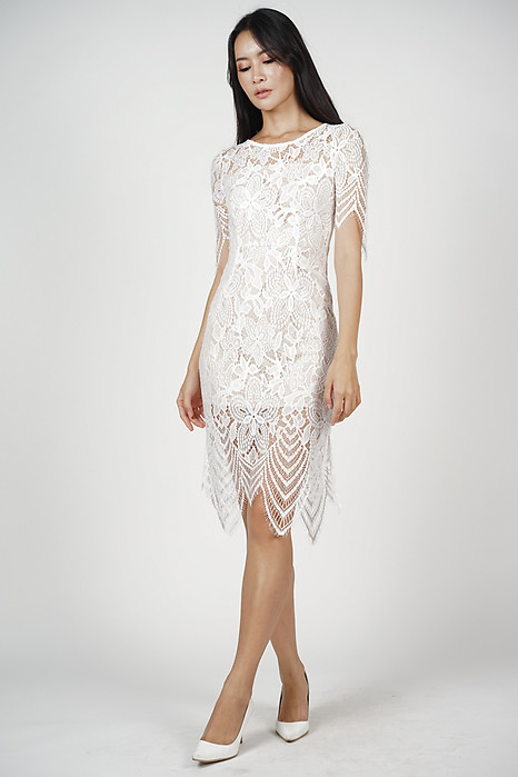 Peekaboo Lace Dress in White