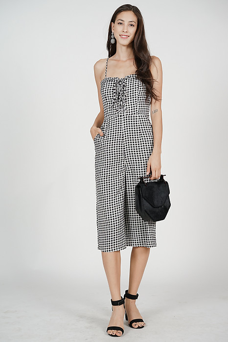 Flap-Over Lace-Up Jumpsuit in Black Gingham