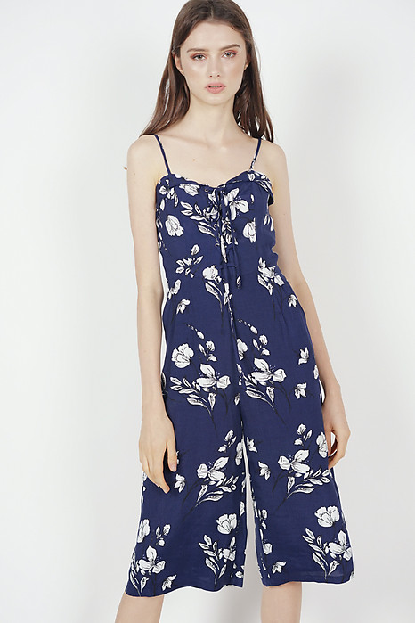 Flap-Over Lace-Up Jumpsuit in Navy Floral - Arriving Soon