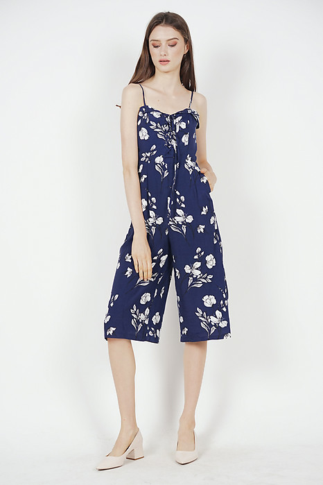 Flap-Over Lace-Up Jumpsuit in Navy Floral