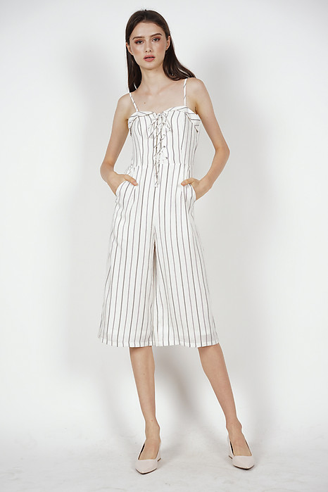 Flap-Over Lace-Up Jumpsuit in White Stripes