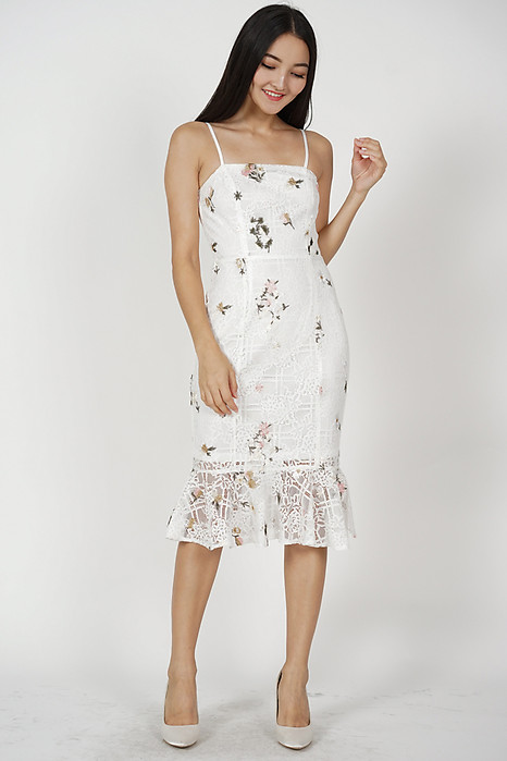 Gaura Ruffled Dress in White Floral - Arriving Soon