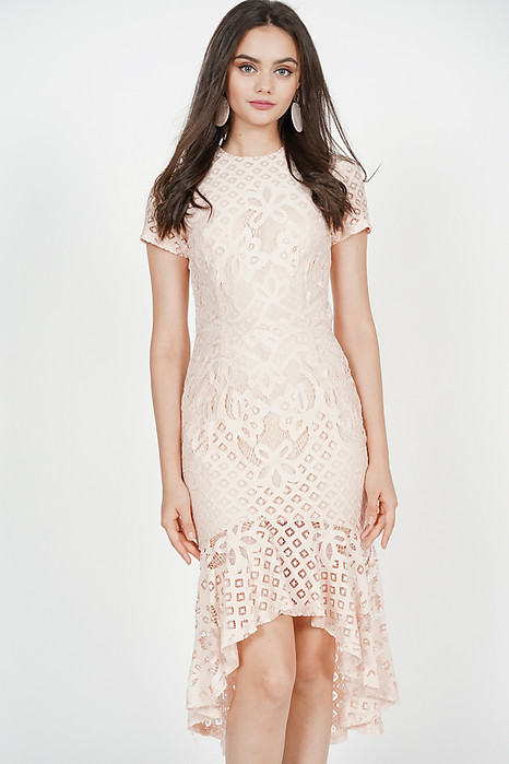 Asymmetric Lace Dress in Light Pink