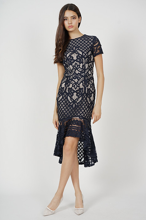 Asymmetric Lace Dress in Midnight