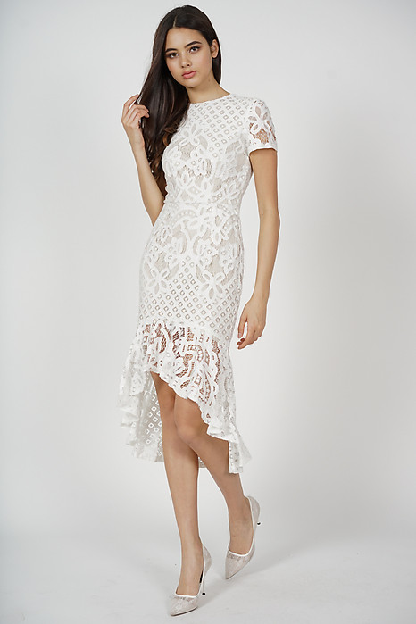 Asymmetric Lace Dress in White