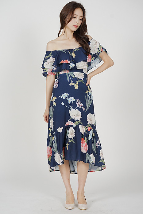 Overlay Ruffled Dress in Midnight Floral