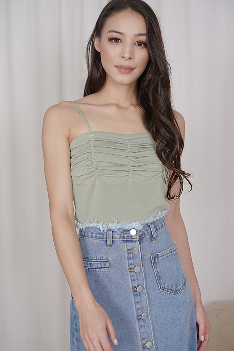 Malu Gathered Top in Sage - Online Exclusive