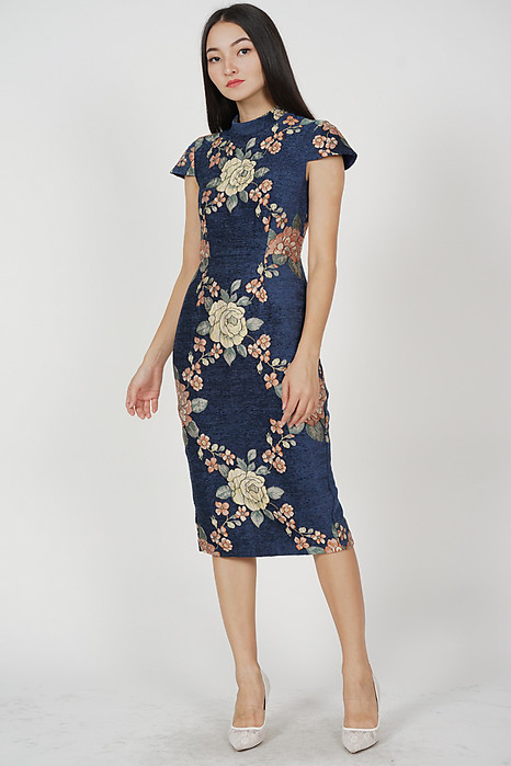 Jacquard Cheongsam Dress in Midnight Floral
