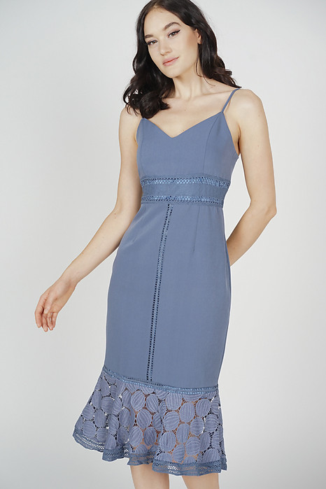 Bellari Lace Dress in Ash Blue