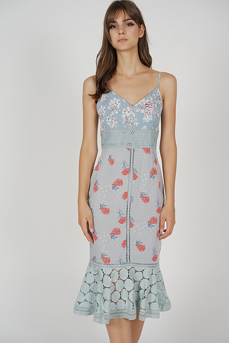 Bellari Lace Dress in Ash Blue Floral - Arriving Soon