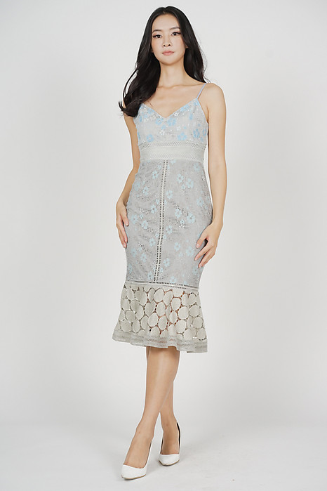 Bellari Lace Dress in Grey Blue Floral - Arriving Soon