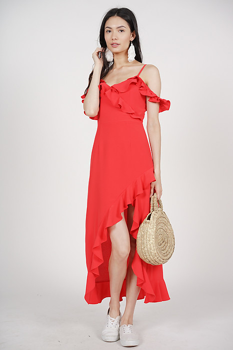 Asymmetrical Frilly Dress in Red - Arriving Soon