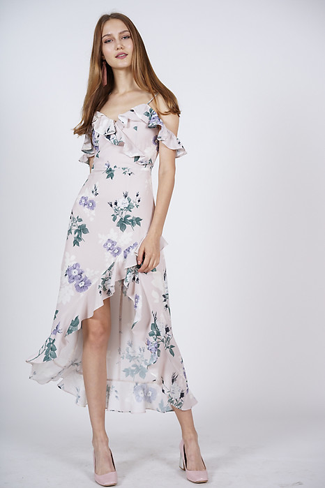 Asymmetrical Frilly Dress in Light Pink Floral