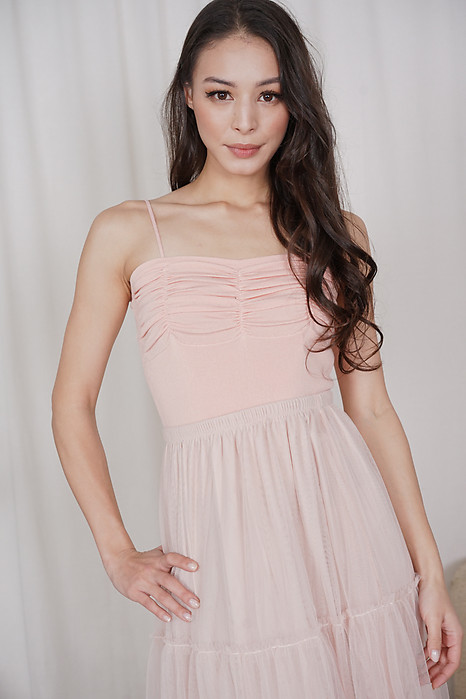 Malu Gathered Top in Peach - Online Exclusive