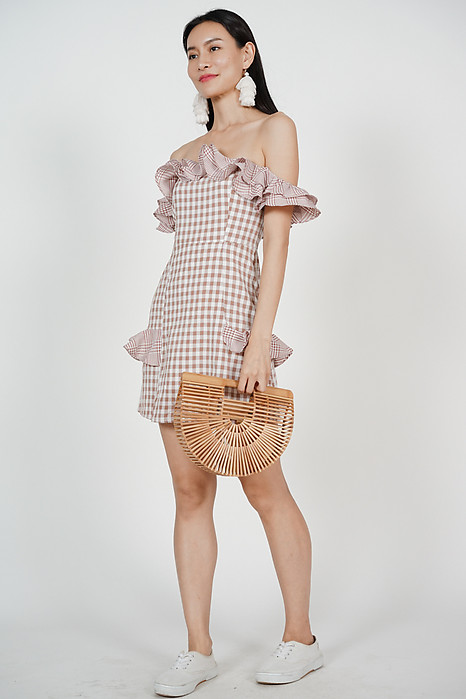 Carrie Frill Dress in Blush Gingham