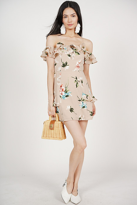 Chamomile Frill Dress in Nude