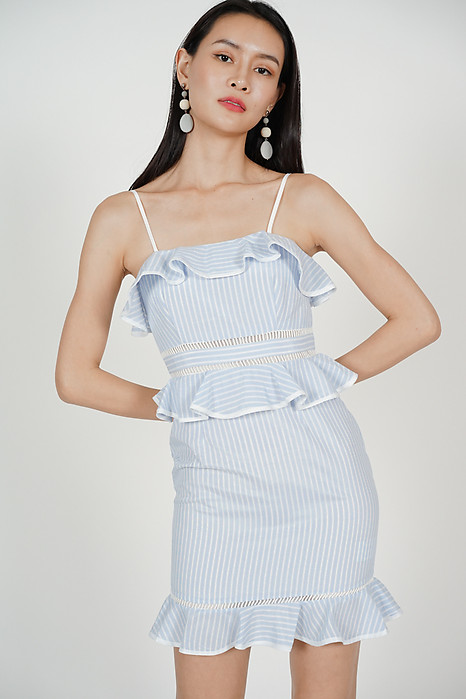 Tiered Frilly Dress in Light Blue Pinstripes