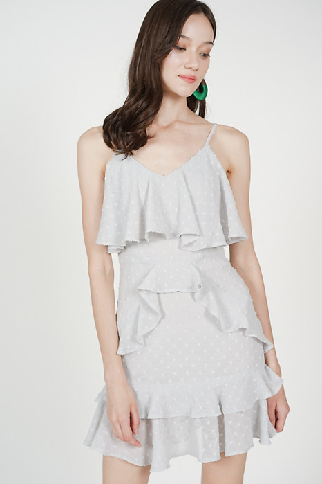 Layered Frilly Dress in Light Grey