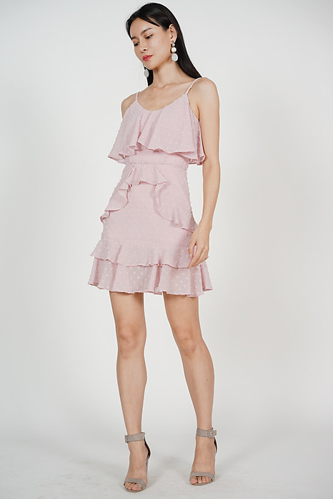 Layered Frilly Dress in Mauve
