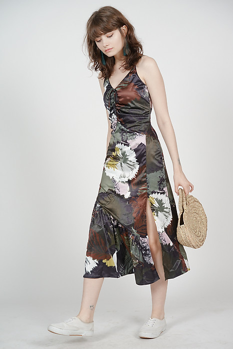 Gathered Tie Front Dress in Multi Floral