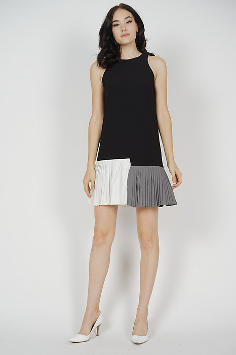 Contrast Pleated Mini Dress in Black - Arriving Soon