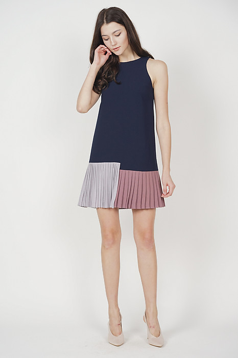 Contrast Pleated Mini Dress in Midnight
