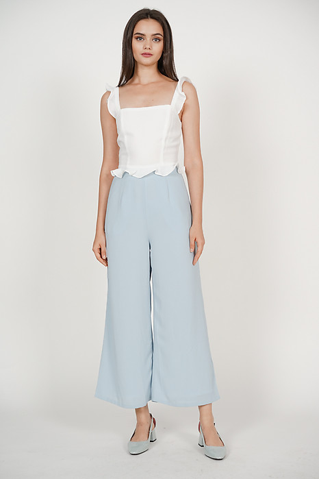 Frilled Peplum Jumpsuit in Off White