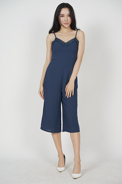 Lace-Trimmed Jumpsuit in Navy