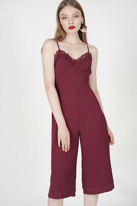 Lace-Trimmed Jumpsuit in Oxblood
