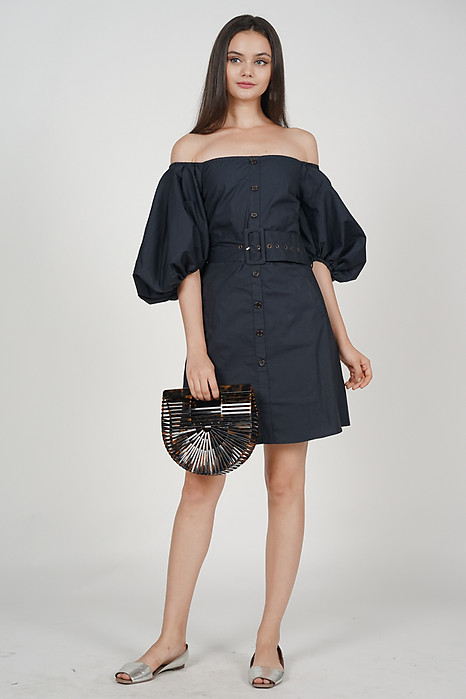 Puff Buttoned Dress in Midnight
