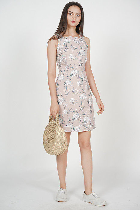 Strappy Piped Dress in Pink Floral