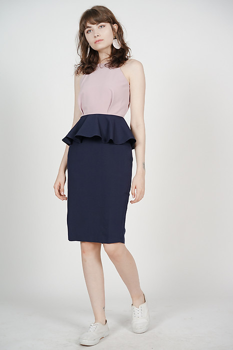 Peplum Halter Dress in Mauve