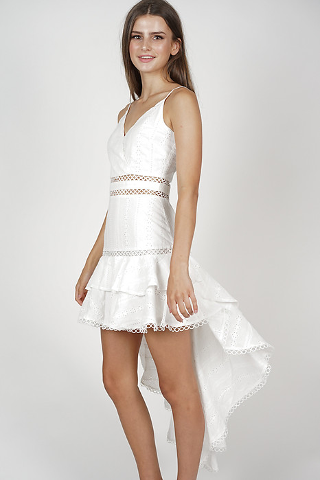 Gardenia Ruffled Dress in White