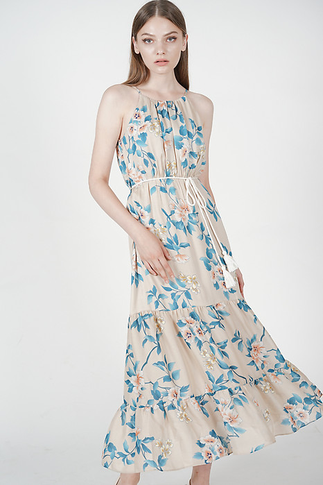 Adrienna Maxi Dress in Nude Floral