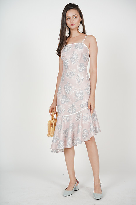 Helia Asymmetric-Hem Dress in Mauve Floral