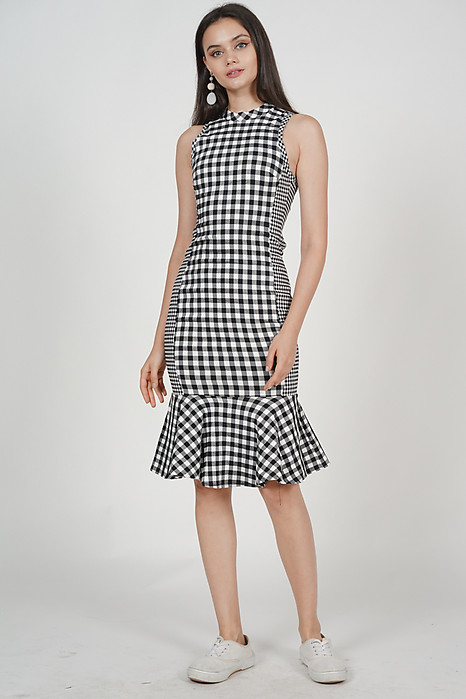 Flare-Hem Bodycon Dress in Black Gingham